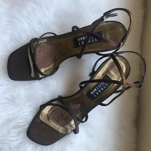 STUART WEITZMAN VTG Brown Satin Strappy Sandals 37